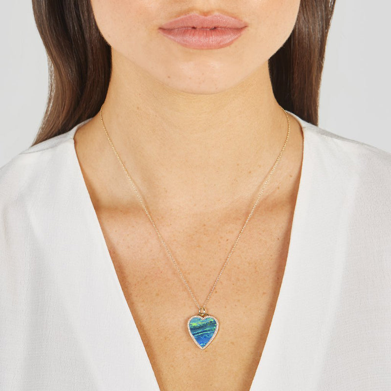 Blue Boulder Opal Inlay Heart Necklace with Diamonds