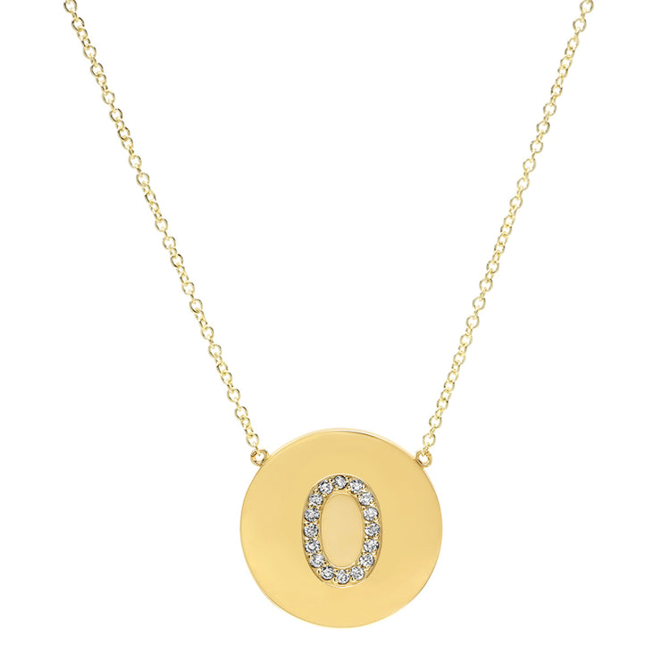 Diamond Letter Disc Necklace - O