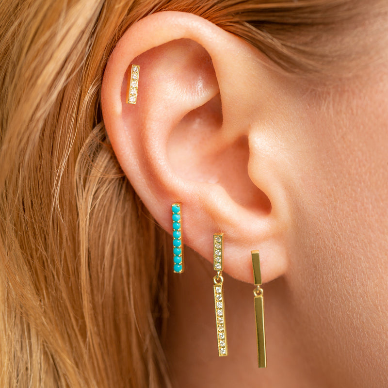 Turquoise Long Bar Studs