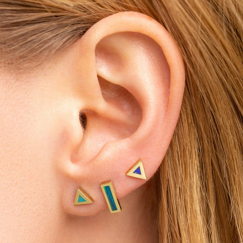 Single Turquoise Inlay Triangle Stud