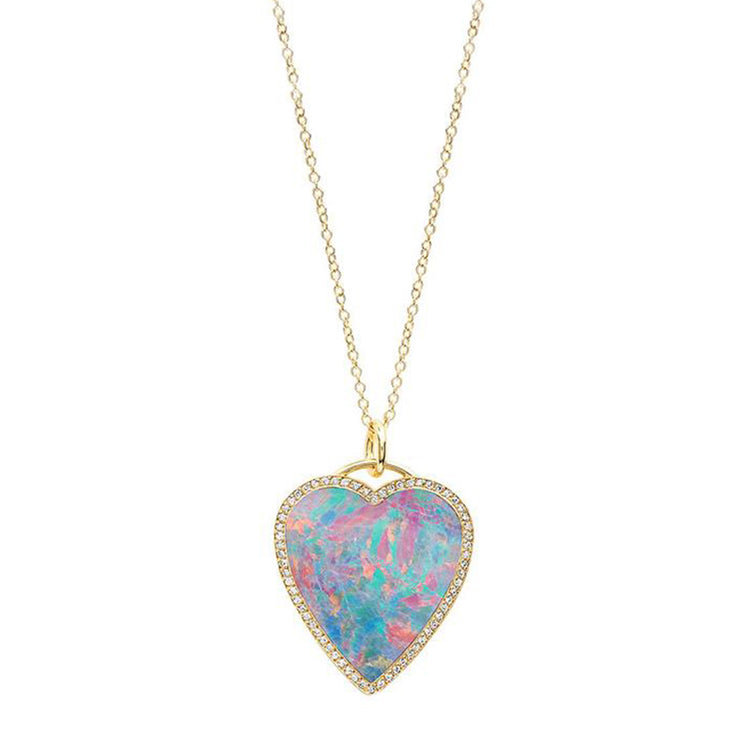 Red Boulder Opal Inlay Heart Necklace with Diamonds