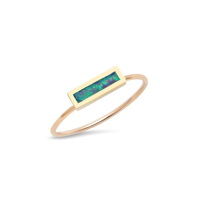 Opal Inlay Bar Ring - Size 6.5