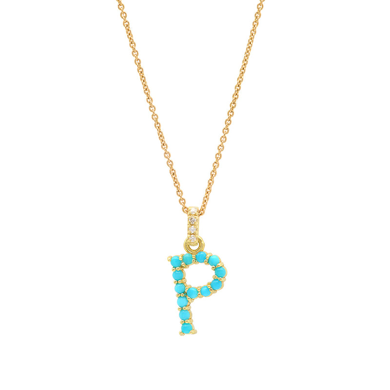 Turquoise Letter Necklace P