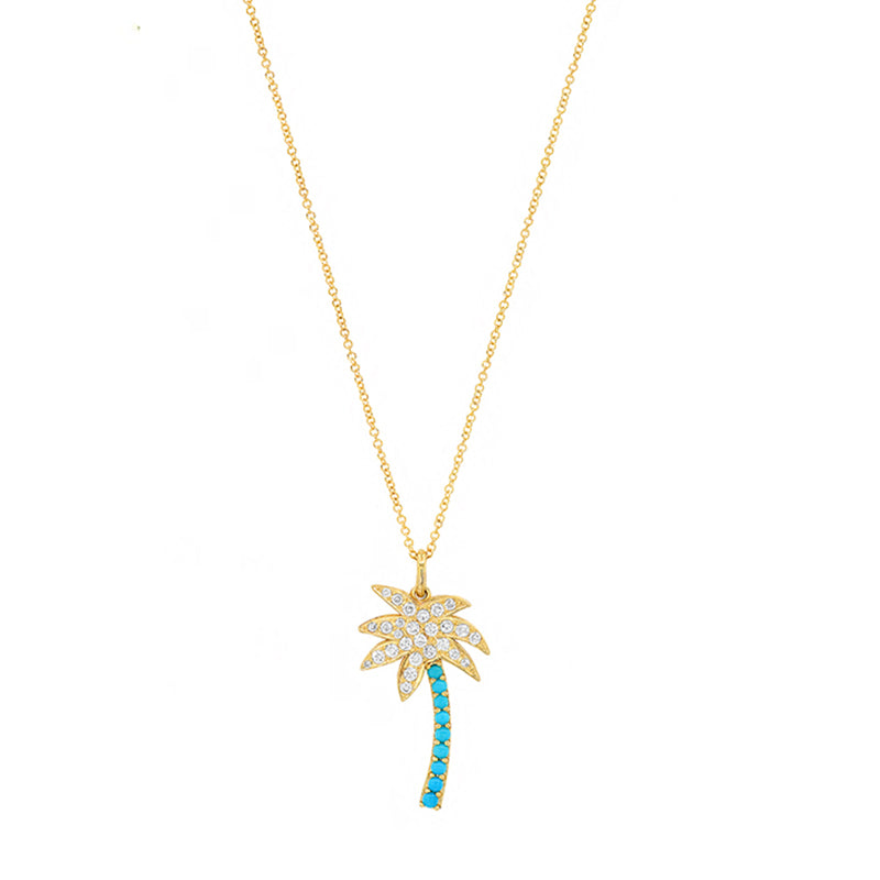 Diamond and Turquoise Palm Tree Necklace