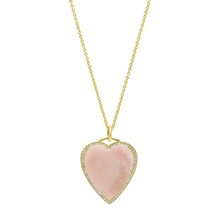 Pink Opal Inlay Heart Necklace with Diamonds