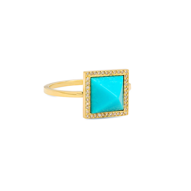 Turquoise Inlay Pyramid Ring with Diamonds