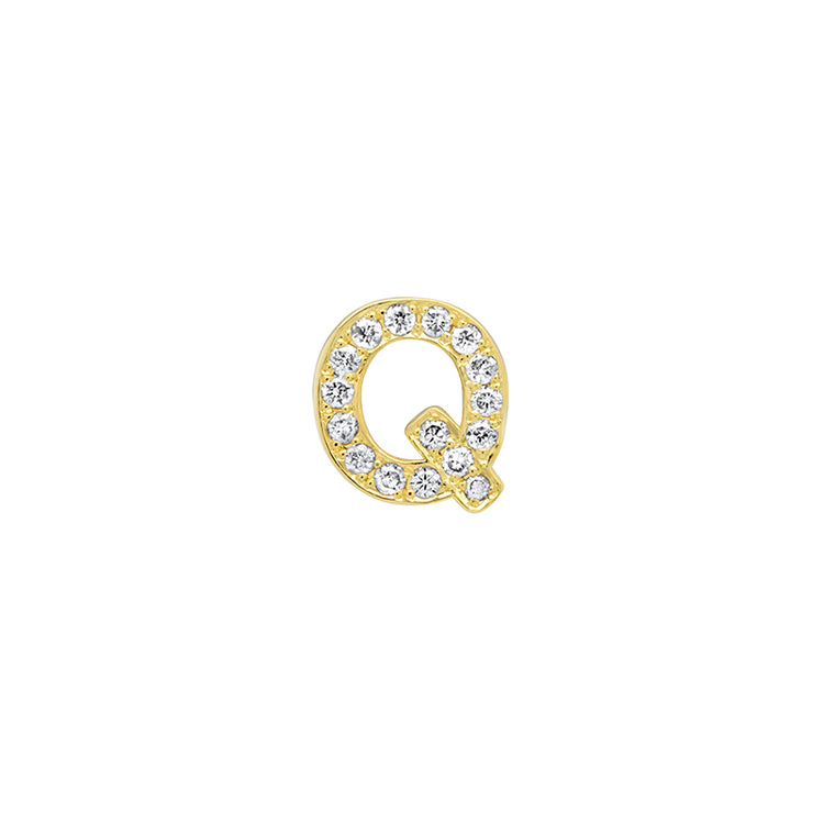 Diamond Mini Uppercase Letter Stud - Q