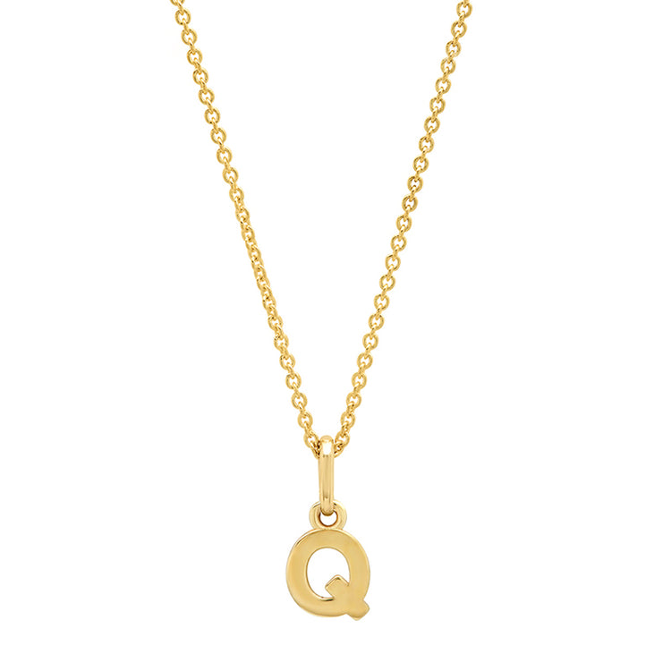 Mini Uppercase Letter Necklace - Q