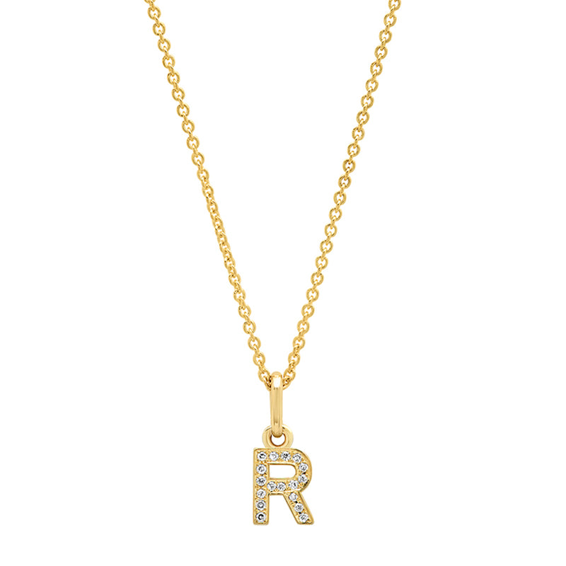 Diamond Mini Uppercase Letter Necklace - R