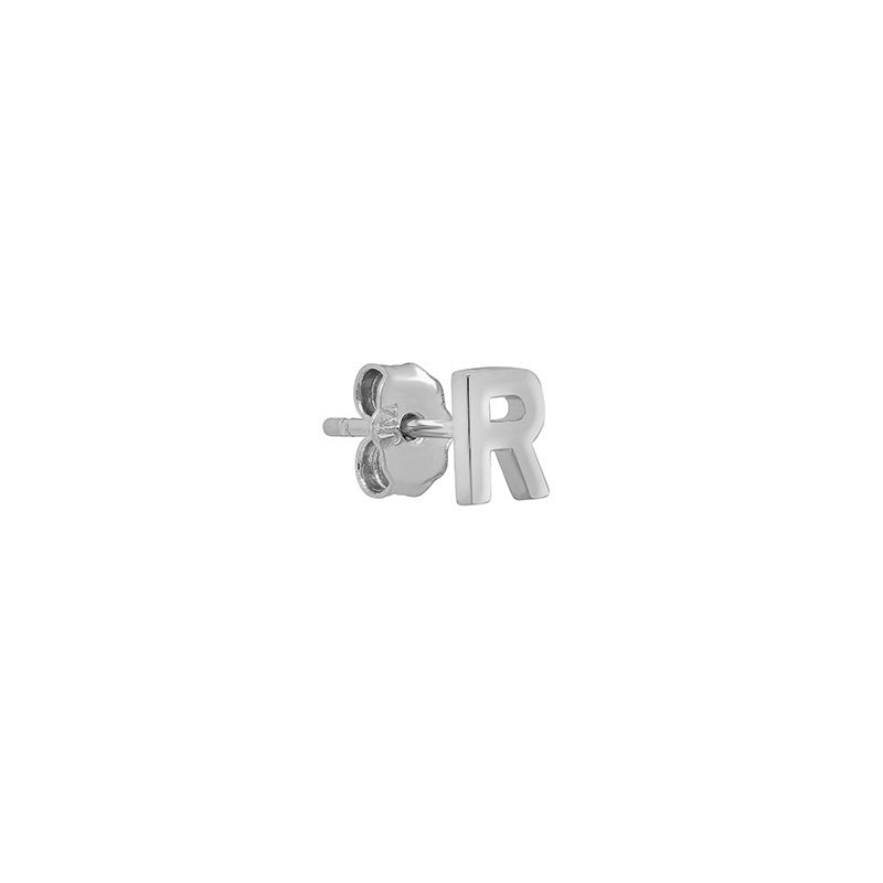 White Gold Mini Uppercase Letter Stud - R