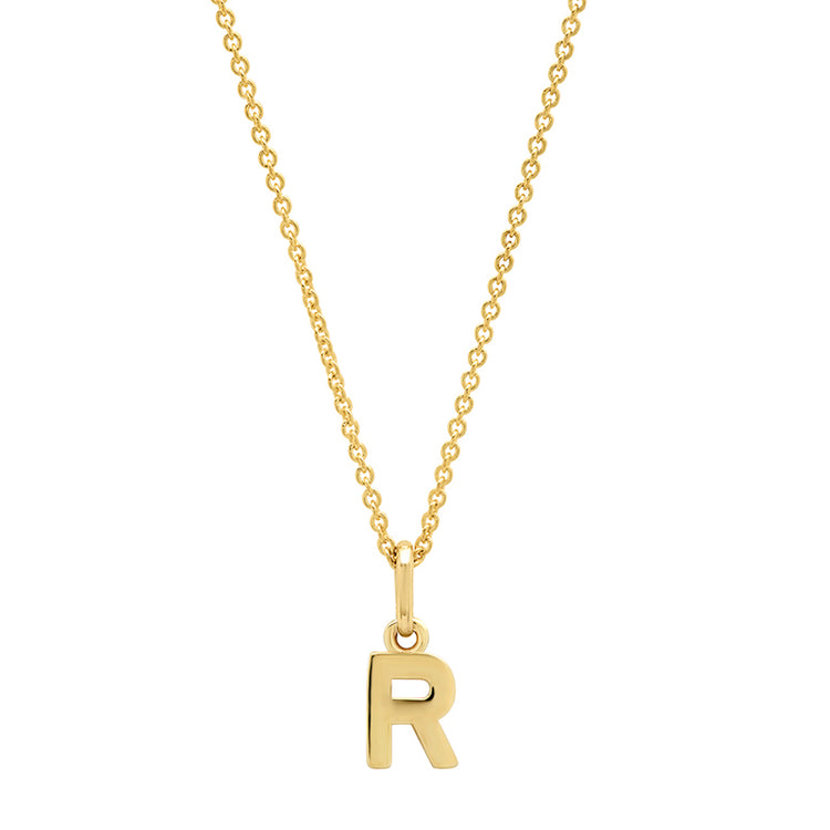 Mini Uppercase Letter Necklace - R