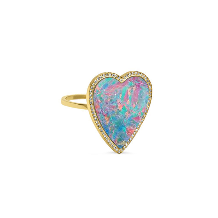 Red Boulder Opal Inlay Heart Ring with Diamonds