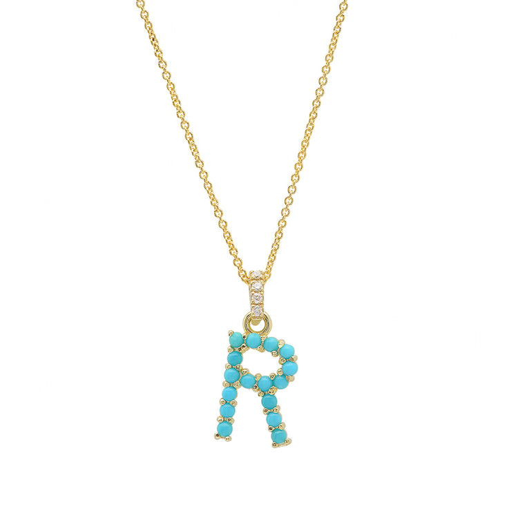 Turquoise Letter Necklace - R
