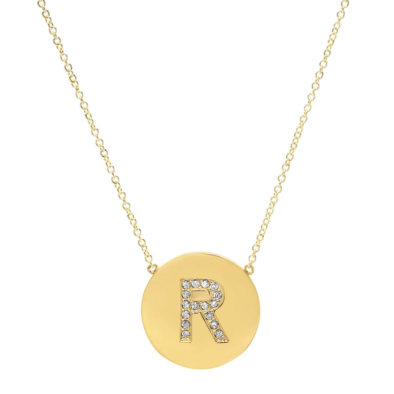 Diamond Letter Disc Necklace - R