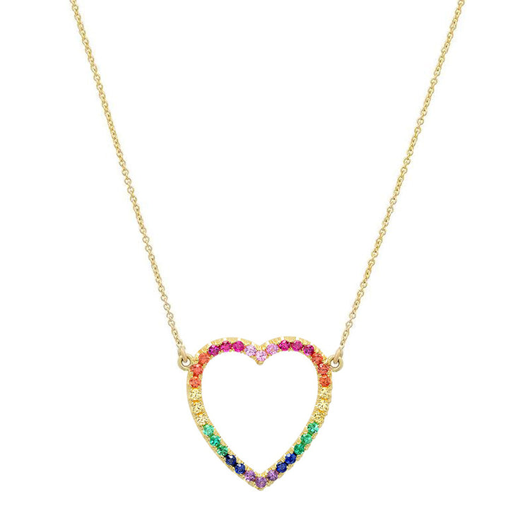 Large Rainbow Open Heart Necklace