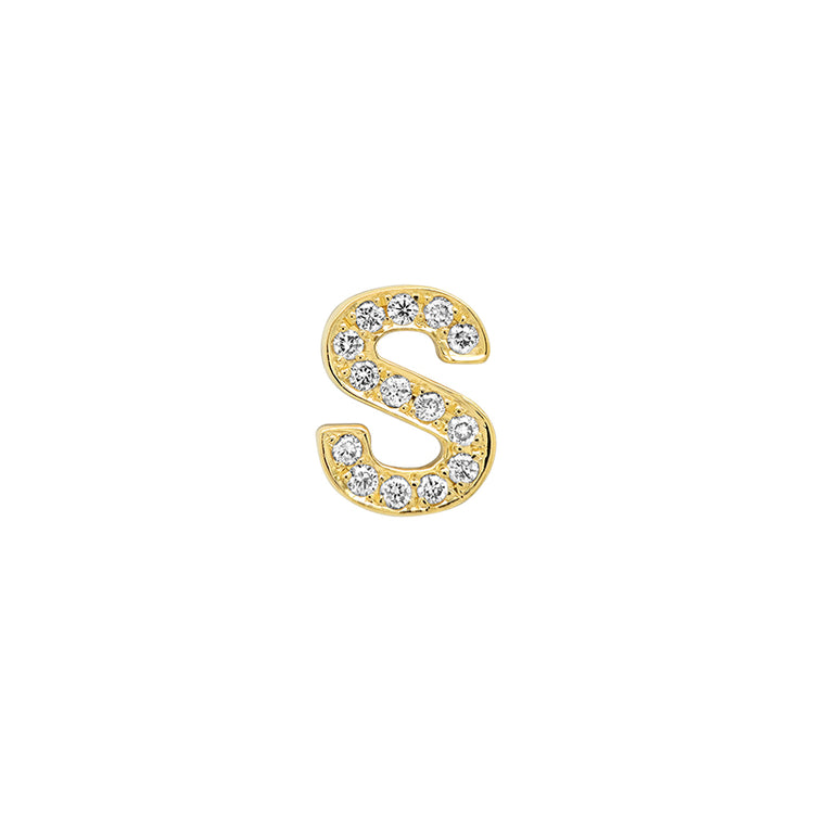 Diamond Mini Uppercase Letter Stud - S