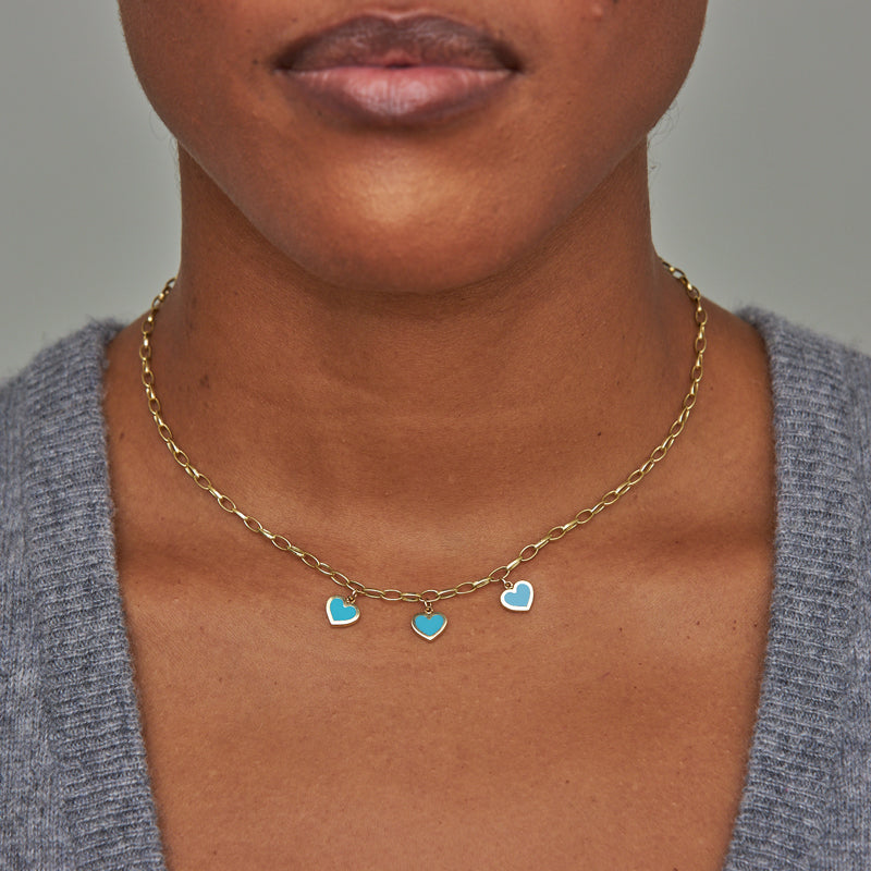 Small Edith Link Necklace with 3 Turquoise Inlay Heart Drops