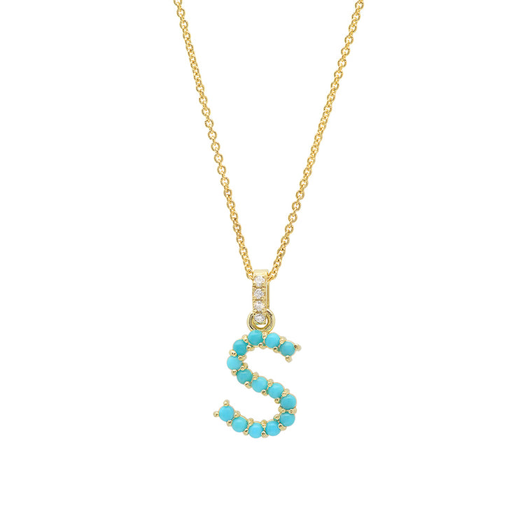 Turquoise Letter Necklace - S