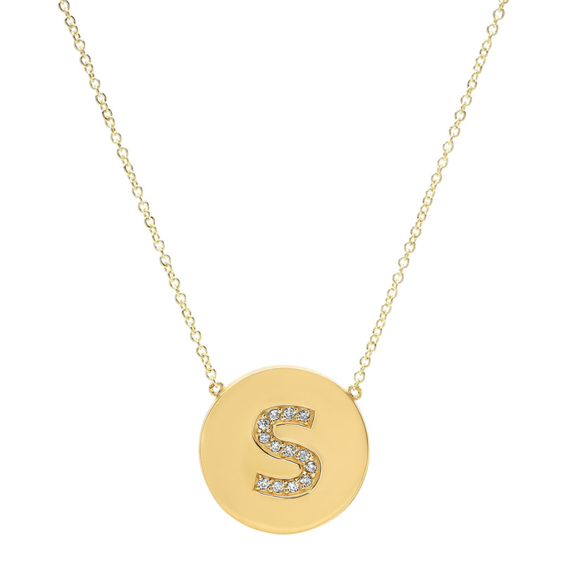 Diamond Letter Disc Necklace - S