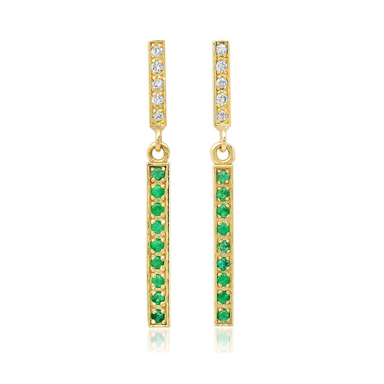 Diamond Short and Emerald Long Bar Studs