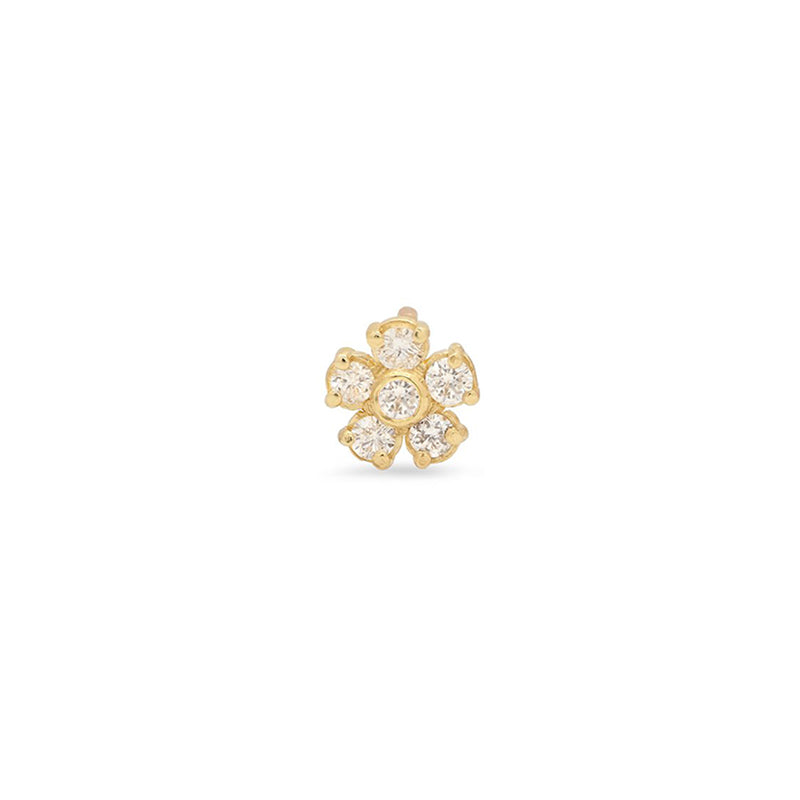 Single Diamond Flower Stud