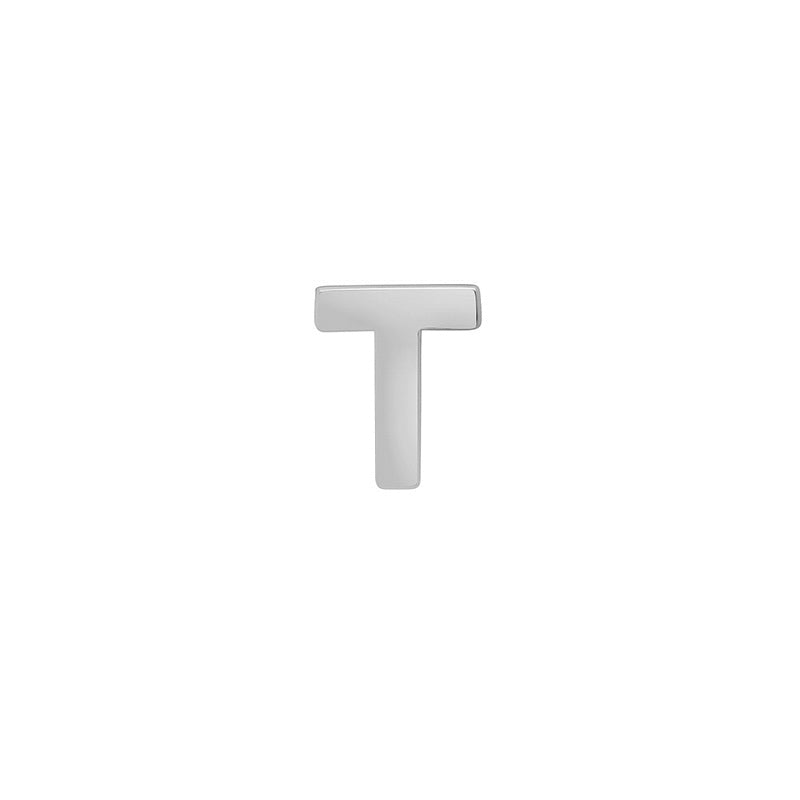 White Gold Mini Uppercase Letter Stud - T
