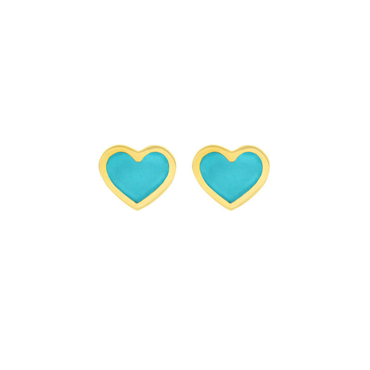 Turquoise Inlay Heart Studs