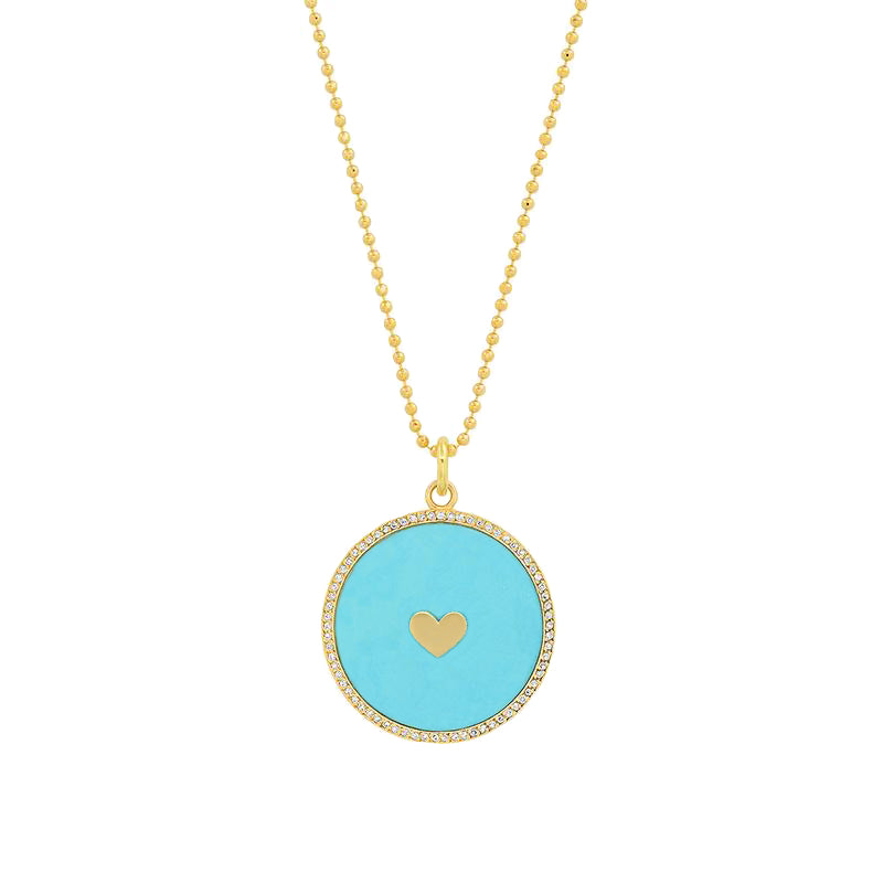 Turquoise Inlay Circle Pendant with Diamonds and Heart Detail