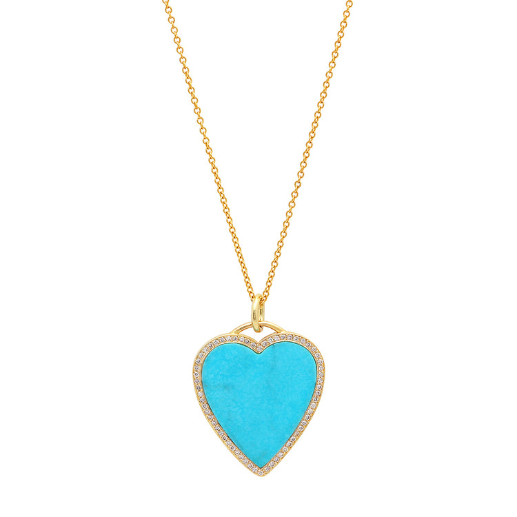 Turquoise Inlay Heart Necklace with Diamonds