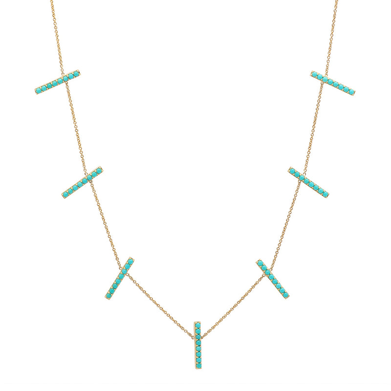 Turquoise Long Cross Bar Necklace