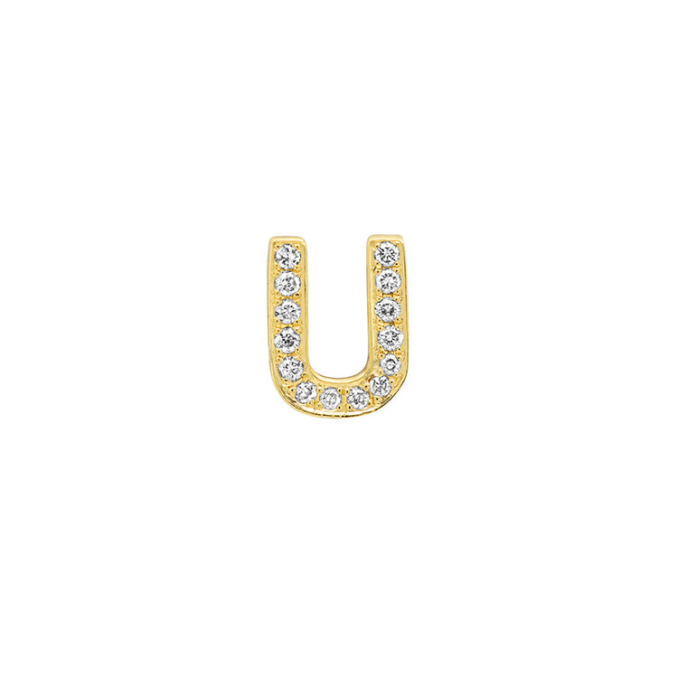 Diamond Mini Uppercase Letter Stud - U