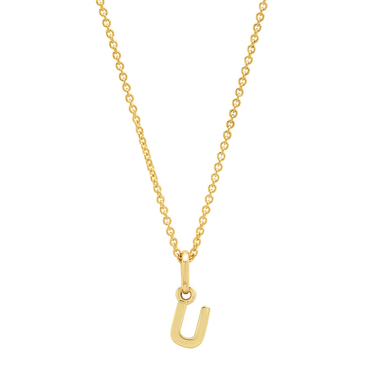Mini Uppercase Letter Necklace - U