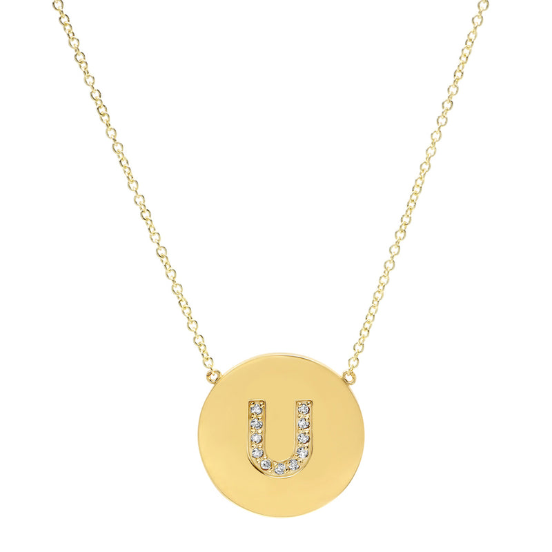 Diamond Letter Disc Necklace - U