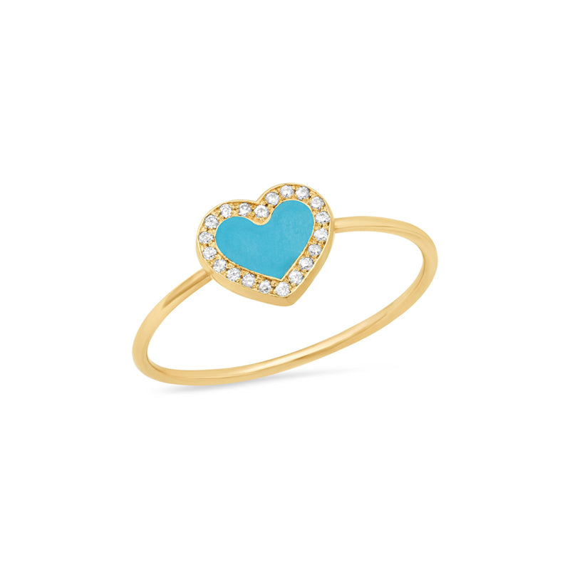 Extra Small Turquoise Inlay Heart Ring with Diamonds