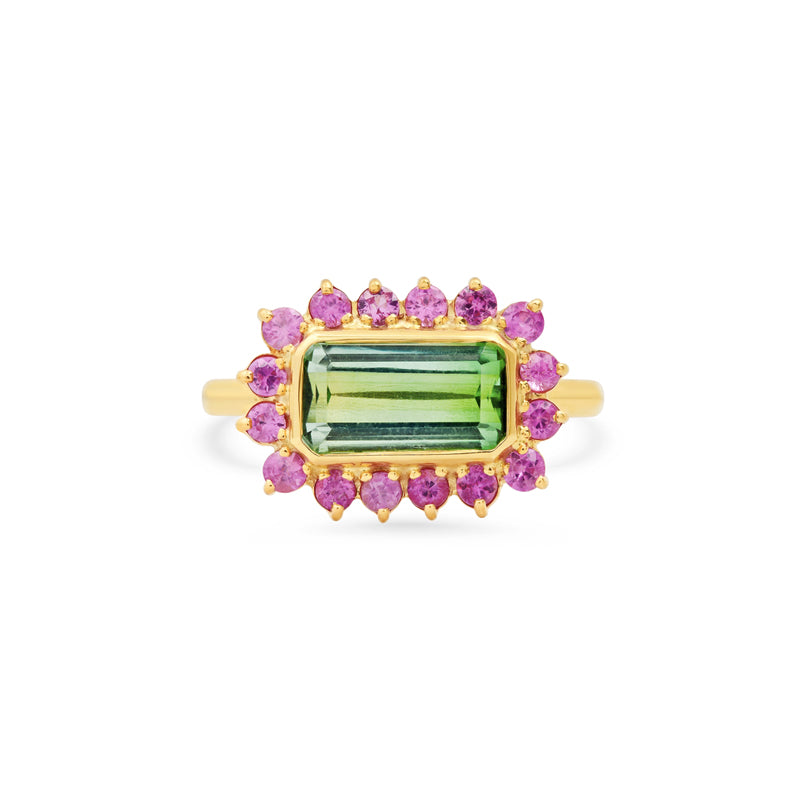One-of-a-Kind Mint Tourmaline with 3-Prong Pink Sapphire Ring