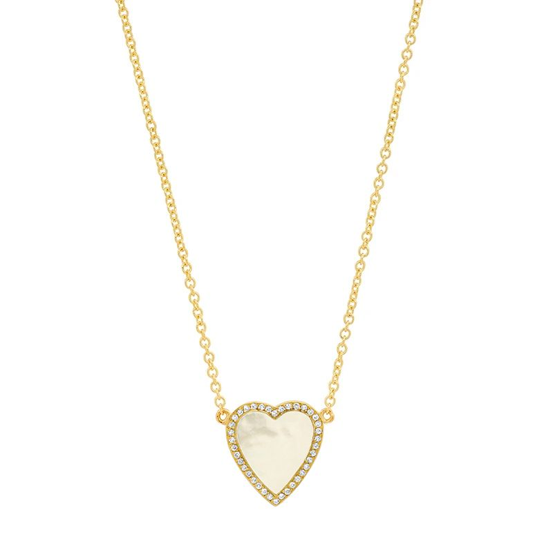 Mini Mother of Pearl Inlay Heart Necklace with Diamonds