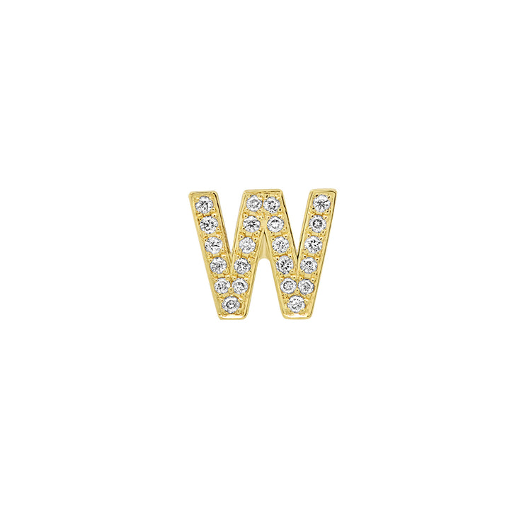 Diamond Mini Uppercase Letter Stud - W