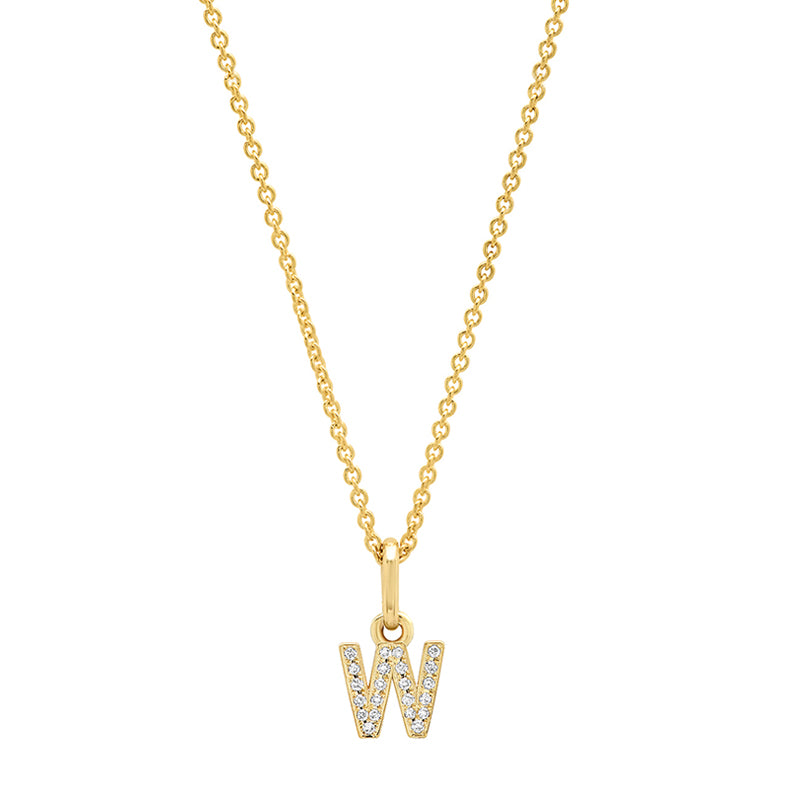 Diamond Mini Uppercase Letter Necklace - W