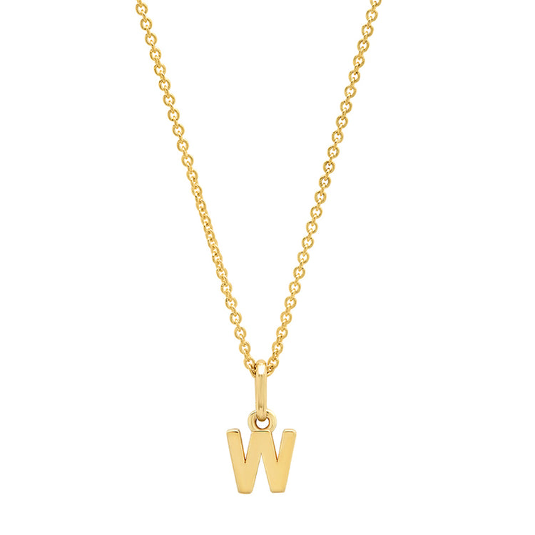 Mini Uppercase Letter Necklace - W