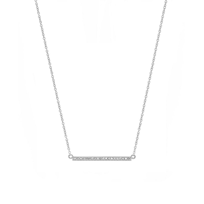 White Gold Diamond Stick Necklace