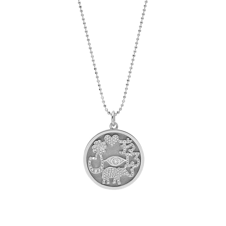 White Gold Diamond Good Luck Necklace