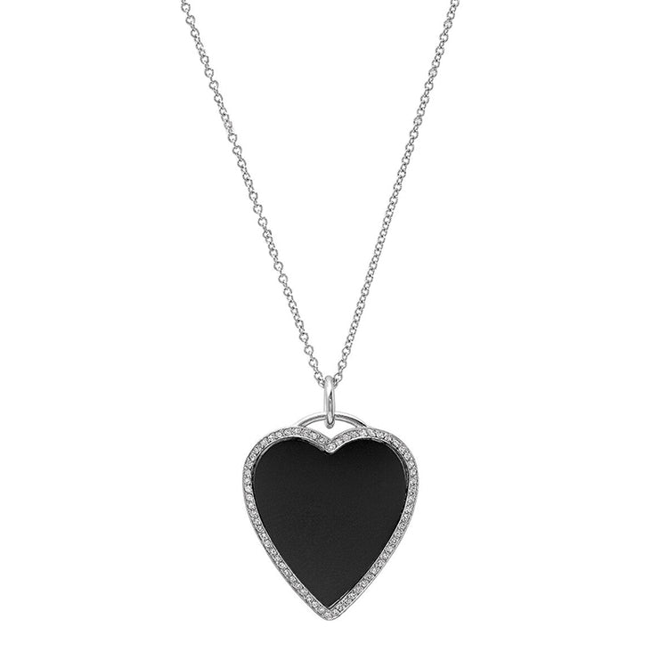 White Gold Onyx Inlay Heart Necklace with Diamonds