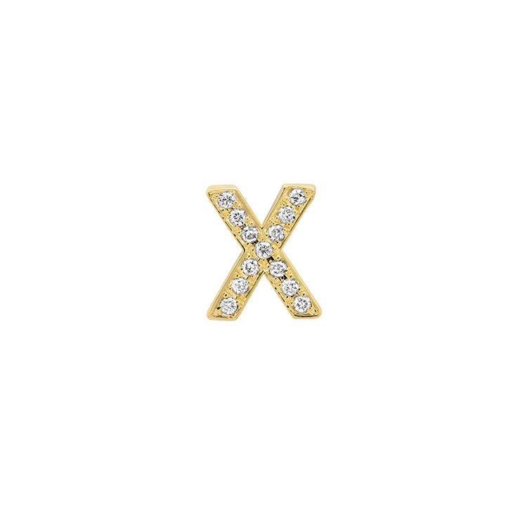 Diamond Mini Uppercase Letter Stud - X