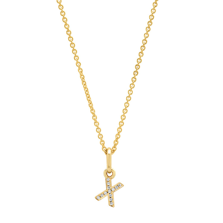 Diamond Mini Uppercase Letter Necklace - X