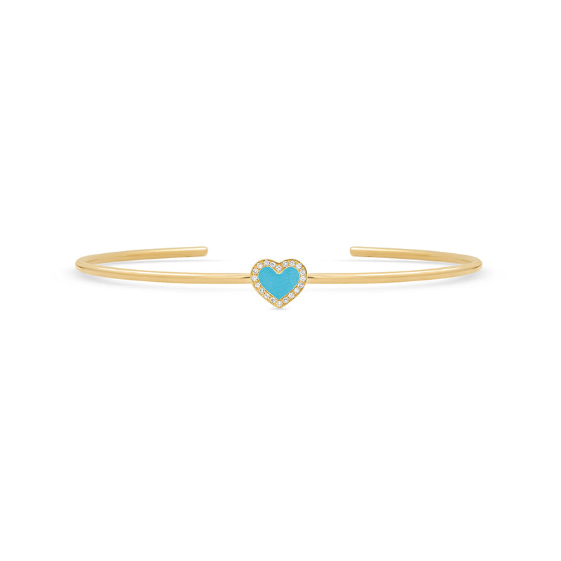 Turquoise Inlay Heart Cuff with Diamonds