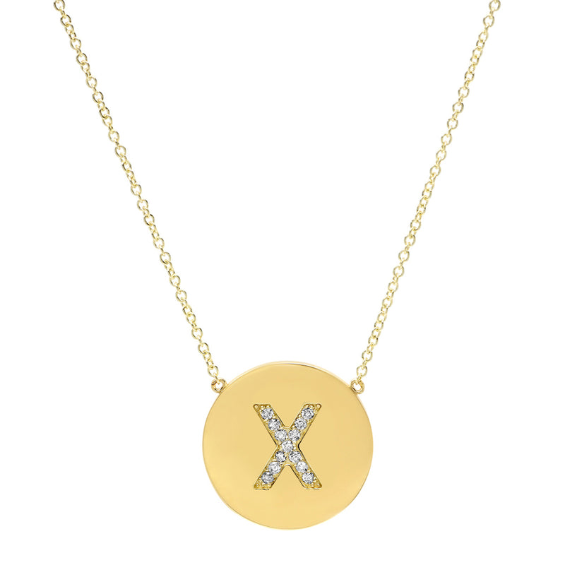 Diamond Letter Disc Necklace - X