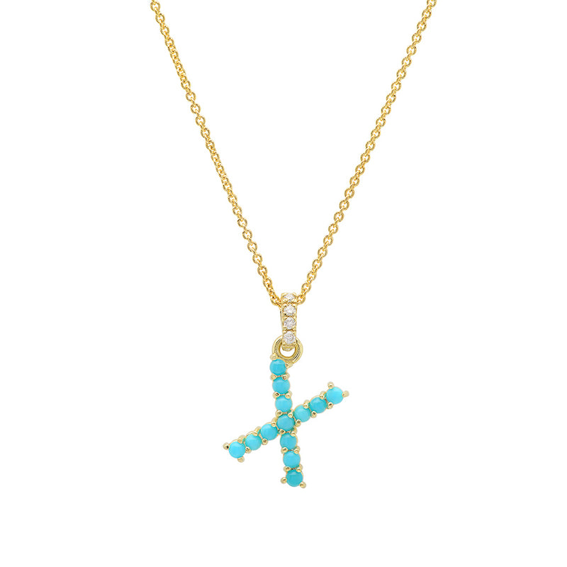 Turquoise Letter Necklace - X