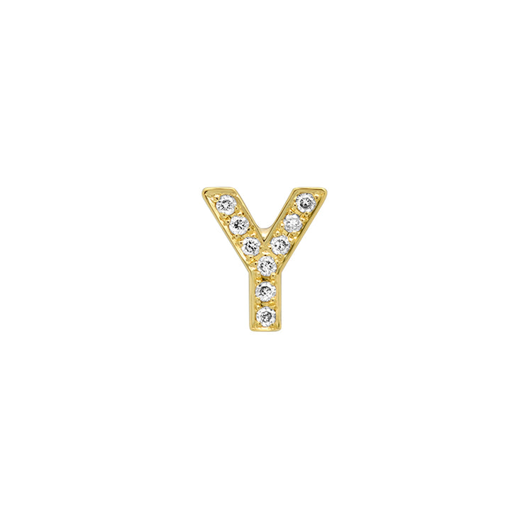 Diamond Mini Uppercase Letter Stud - Y