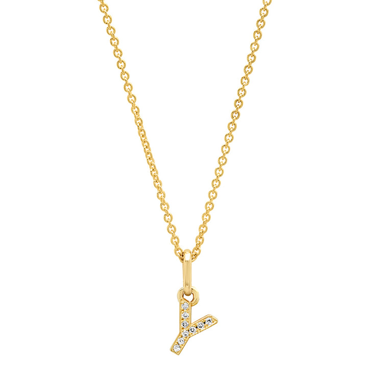 Diamond Mini Uppercase Letter Necklace - Y