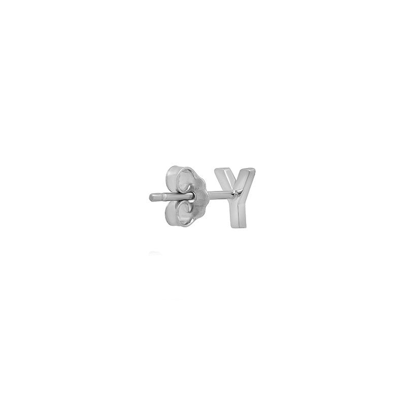 White Gold Mini Uppercase Letter Stud - Y